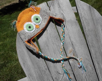Made to Order - Crochet Owl Earflap Hat - Photography Prop