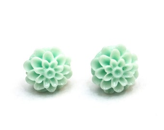 Mint green mum stud earrings