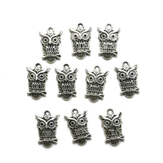 Tibetan silver owl charms (10 pcs)