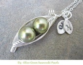 Two Sweet Peas in a Pod Necklace (or 3, or 4 peas- pick your color)
