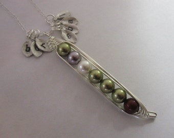 Petite Sweet Peas in a Pod Necklace (7, 8, 9 peas)