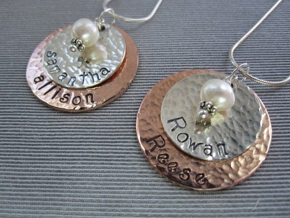 Samuel Necklace- Hand Hammered Double Disc pendant- PERSONALIZED and a great gift for mom