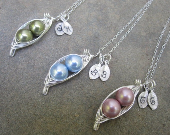 Featured listing image: Mom's Sweet Peas in a Pod Necklace (2, 3, or 4 peas- pick your color)