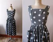 Vintage 1950s grey and white polka dots dress