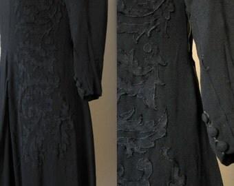 vintage 1940s black soutache trim dress