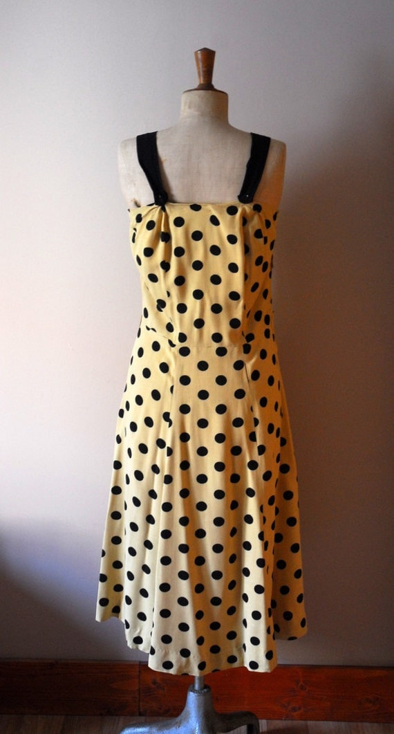 RESERVED vintage 1950s camel dotted dress