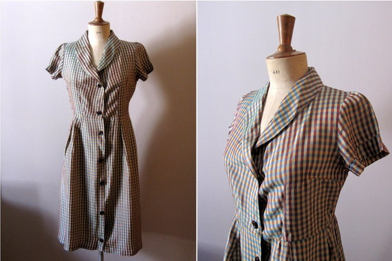 vintage 1950s silk AUTUMN CHECK dress