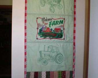 Wall Hanging, Door Hanging, Entryway Wall Hanging, Welcome to the Farm Wall Hanging, Quilted/Embroidered Wall Hanging