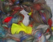 Spinning Fiber Art Batt Braid Wool Curls Sari Silk Sparkle 2.1 oz