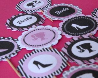 DIY Printable Barbie Inspired Cupcake Toppers PDF File