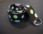 Brown with blue, pink, white polka dots fabric belt