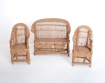 Antique Wicker Doll Furniture Chairs