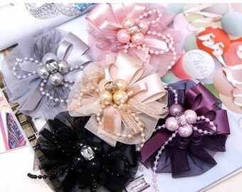 1 PCS Chiffon and Satin Ribbon Corsage - Pick Your Color : Gray, Purple and Black