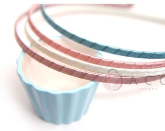 "5mm(3/16"") - Metal Headband with Bent End - Fully Lined up with a Satin Ribbon - 9 Different Colors - Pink, Olive, Ivory, Brown, Black"