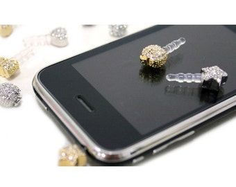 50% off 1PCS - Star Smart Phone  Anti Dust  Earphone Cap- Pick Your Color - Yellow Gold or White Gold Plated