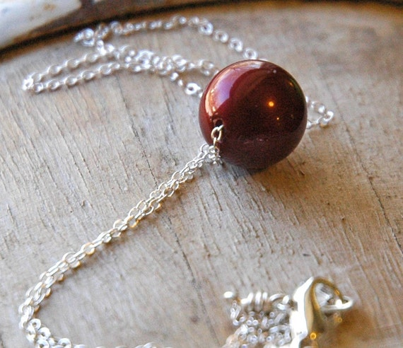 Romantic Swarovski Red Pearl Silver Necklace