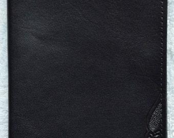 Leather Passport Case / corner tooled black