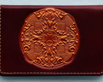Business Card Case..Mandalla on Maroon Leather