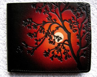 Leather Wallet / Tree / Red/Orange Night