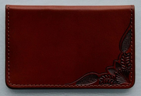 Business Card Case , corner tooled brown