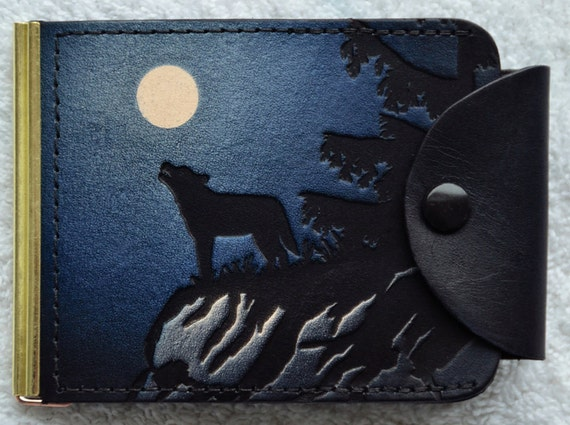 Leather Money Clip / 2 pockets / snap closer/ wolf