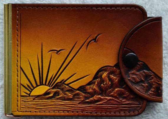 Leather Money Clip / 2 pockets / snap closer / ocean/sunset