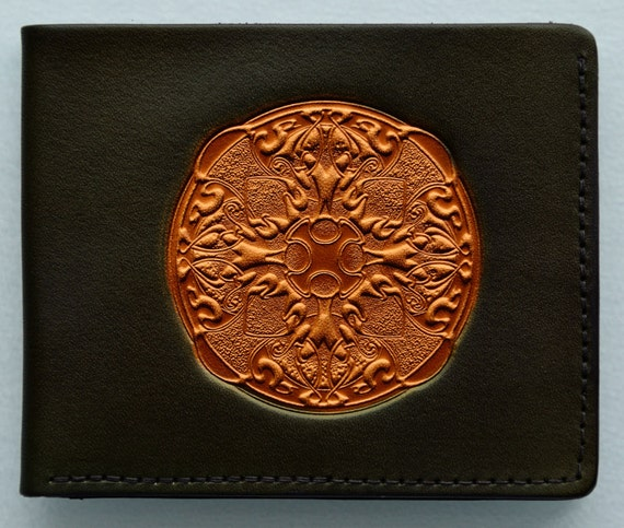 Leather Wallet..Mandalla on Moss Green
