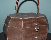 Distressed Brown and Pink Wooden Handbag