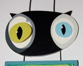 Whimsical Black Cat MEOW blue green & black Hanging Sign