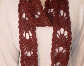 Burgundy hand crocheted lacy scarf.