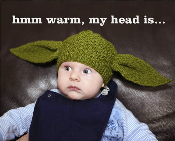 PDF pattern only - Yoda Hat Knitting Pattern - child & adult sizing included