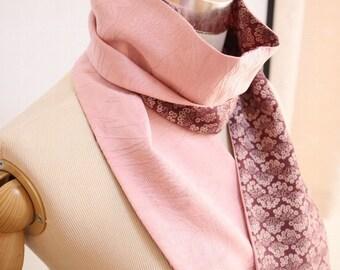 silk scarf 004 from vintage Japanese kimono silk - lavender pink & reddish brown