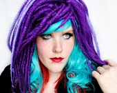 EXTRATERRESTRIAL Dreadlock wig // Red Teal Purple // Wavy / Straight Long Layered
