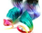 Tropical Breeze / Human Hair Extension / Rainbow Black Blue Purple Turquoise Pink Red Green Orange Yellow / Long Tie Dye Colored Hair