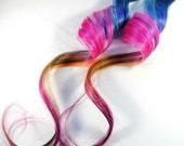 Island Fruit / Human Hair Extension / Blue Purple Pink Orange / Long Tie Dye Colored Hair