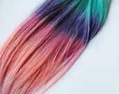 AZTEC PASTEL TRIBAL Inspired - Human Hair Extensions - Dip Dyed Tips / Tie Dyed Clip Ins // Blonde Peach Blue Purple Pink / Ombre Rainbow