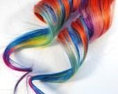 Mango Mambo / Human Hair Extension / Orange Blue Green Yellow Pink Purple / Long Tie Dye Colored Hair