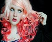 Coral Peach Love / Human Hair Extension / Lavender Purple Pink Peach / Long Tie Dye Colored Hair