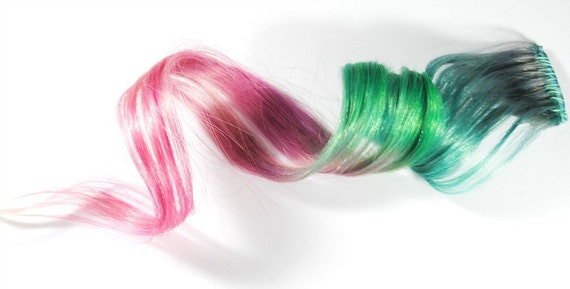 Watermelon Sugar / Human Hair Extension / Green Pink Pastel / Long Tie Dye Colored Hair