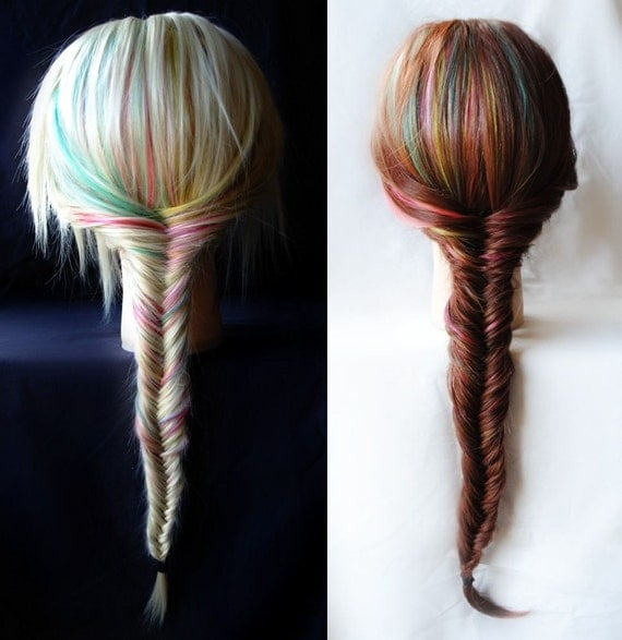 "Fishtail Braid Extensions - Rainbow / Human Hair Set / Turquoise Purple Pink Purple Peach / Long Colored / 16"" - 18"" long"