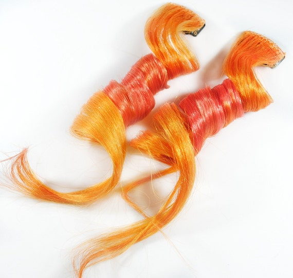 Apricot Twist / Human Hair Extension / Orange Pink Peach / Long Tie Dye Colored Hair