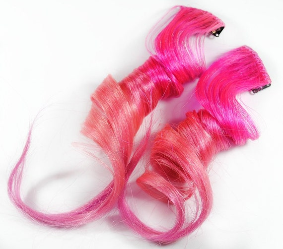 Blush Pink / Human Hair Extension / Pink  Long Tie Dye Colored Hair