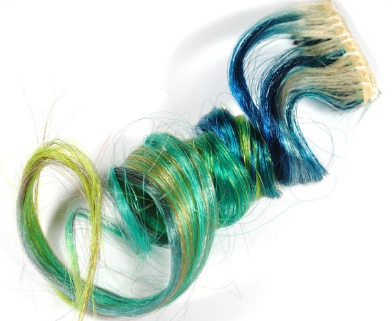 Saltwater Blues / Human Hair Extension / Turquoise Teal Green Blonde Blue / Long Tie Dye Colored Hair