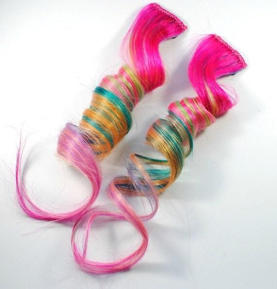 Juicy Fruit / Human Hair Extension - Clip In / Pink Teal Green Orange / Long Tie Dye Colored Hair