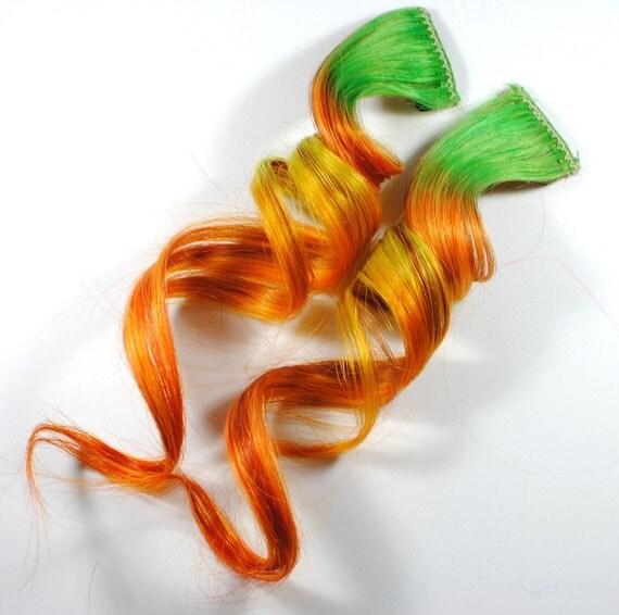 Pumpkin Patch / Human Hair Extension / Green Orange Yellow / Long Tie Dye Colored Hair
