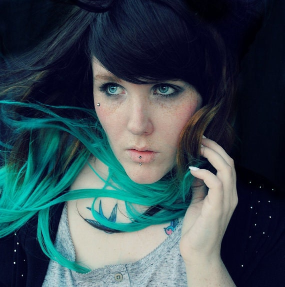 ombre turquoise teal mermaid hair human hair by missvioletlace