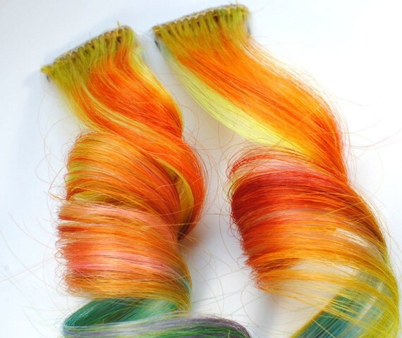 Mango Melon / Human Hair Extension / Orange Green Red Yellow / Long Tie Dye Colored Hair