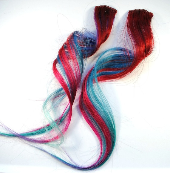 Blue Raspberry Blitz / Human Hair Extension / Blue Red Purple Turquoise / Long Tie Dye Colored Hair