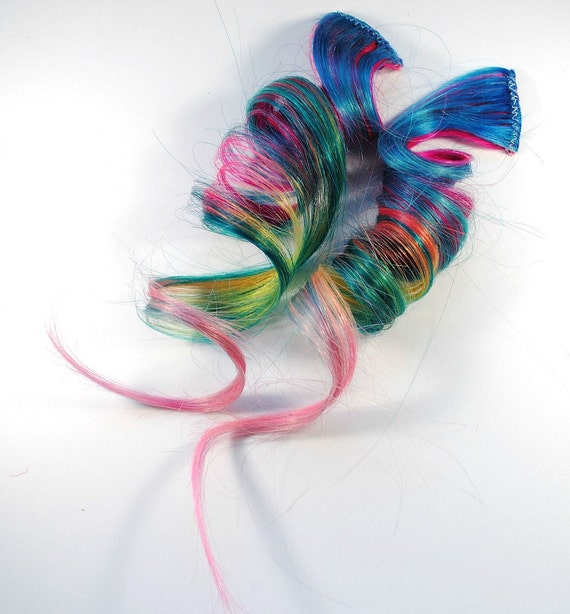 Tropical Toucan / Human Hair Extension / Blue Pink Green / Long Tie Dye Colored Hair
