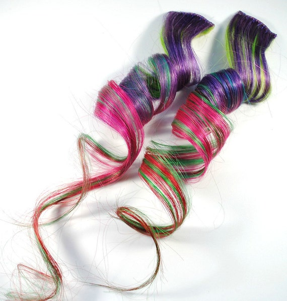 Divine Darling / Human Hair Extension - Clip In / Purple Pink Green Red / Long Tie Dye Colored Hair